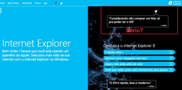 Screenshot do site Internet Explorer 9